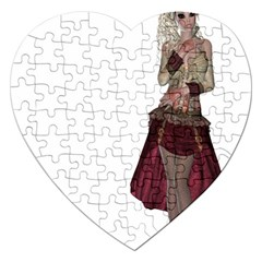 Steampunk Style Girl Wearing Red Dress Jigsaw Puzzle (Heart)