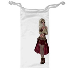 Steampunk Style Girl Wearing Red Dress Jewelry Bag