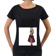 Steampunk Style Girl Wearing Red Dress Women s Maternity T-shirt (Black)