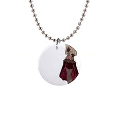 Steampunk Style Girl Wearing Red Dress Button Necklace