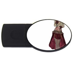 Steampunk Style Girl Wearing Red Dress 4gb Usb Flash Drive (oval)