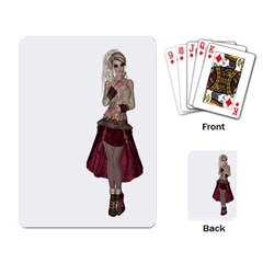Steampunk Style Girl Wearing Red Dress Playing Cards Single Design