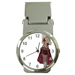 Steampunk Style Girl Wearing Red Dress Money Clip with Watch