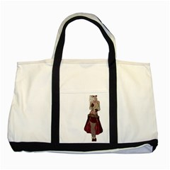 Steampunk Style Girl Wearing Red Dress Two Toned Tote Bag