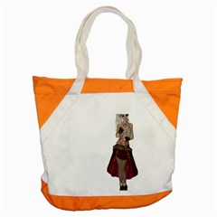 Steampunk Style Girl Wearing Red Dress Accent Tote Bag