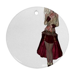 Steampunk Style Girl Wearing Red Dress Round Ornament (Two Sides)