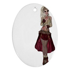 Steampunk Style Girl Wearing Red Dress Oval Ornament (Two Sides)