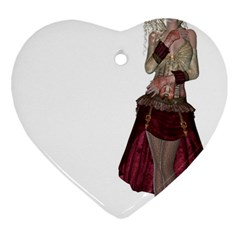 Steampunk Style Girl Wearing Red Dress Heart Ornament (Two Sides)