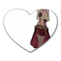 Steampunk Style Girl Wearing Red Dress Mouse Pad (Heart)