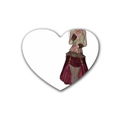 Steampunk Style Girl Wearing Red Dress Drink Coasters 4 Pack (Heart)