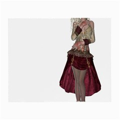 Steampunk Style Girl Wearing Red Dress Glasses Cloth (Small, Two Sided)