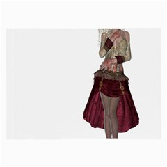 Steampunk Style Girl Wearing Red Dress Glasses Cloth (Large, Two Sided)