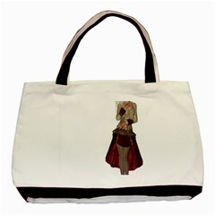 Steampunk Style Girl Wearing Red Dress Twin Sided Black Tote Bag