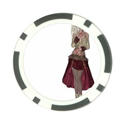 Steampunk Style Girl Wearing Red Dress Poker Chip
