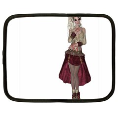 Steampunk Style Girl Wearing Red Dress Netbook Sleeve (large)