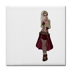 Steampunk Style Girl Wearing Red Dress Face Towel