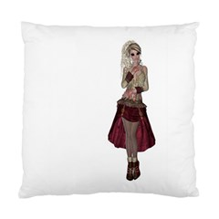 Steampunk Style Girl Wearing Red Dress Cushion Case (Two Sided)