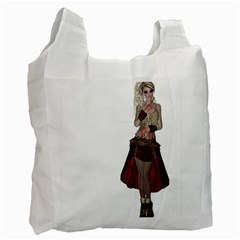 Steampunk Style Girl Wearing Red Dress Recycle Bag (Two Sides)