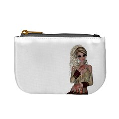 Steampunk Style Girl Wearing Red Dress Coin Change Purse