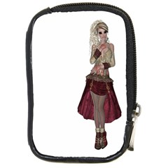 Steampunk Style Girl Wearing Red Dress Compact Camera Leather Case