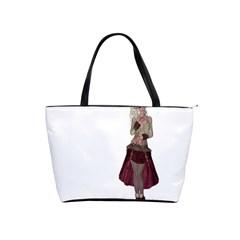 Steampunk Style Girl Wearing Red Dress Large Shoulder Bag