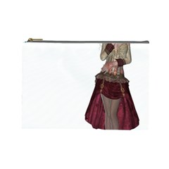 Steampunk Style Girl Wearing Red Dress Cosmetic Bag (Large)