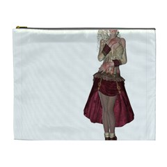 Steampunk Style Girl Wearing Red Dress Cosmetic Bag (xl)