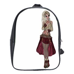 Steampunk Style Girl Wearing Red Dress School Bag (large)