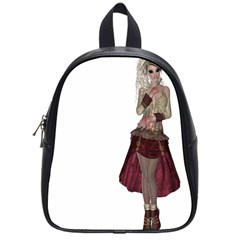 Steampunk Style Girl Wearing Red Dress School Bag (Small)