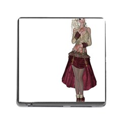 Steampunk Style Girl Wearing Red Dress Memory Card Reader with Storage (Square)