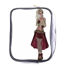 Steampunk Style Girl Wearing Red Dress Mini Travel Toiletry Bag (one Side)