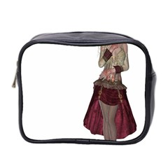 Steampunk Style Girl Wearing Red Dress Mini Travel Toiletry Bag (Two Sides)