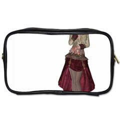 Steampunk Style Girl Wearing Red Dress Travel Toiletry Bag (one Side)