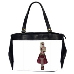 Steampunk Style Girl Wearing Red Dress Oversize Office Handbag (Two Sides)