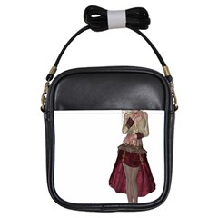 Steampunk Style Girl Wearing Red Dress Girl s Sling Bag