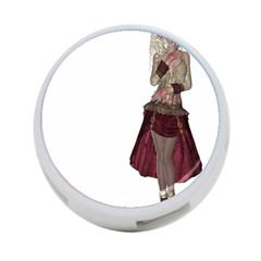 Steampunk Style Girl Wearing Red Dress 4-Port USB Hub (Two Sides)