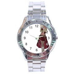 Steampunk Style Girl Wearing Red Dress Stainless Steel Watch