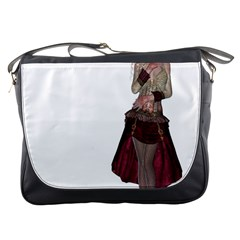 Steampunk Style Girl Wearing Red Dress Messenger Bag