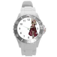 Steampunk Style Girl Wearing Red Dress Plastic Sport Watch (Large)