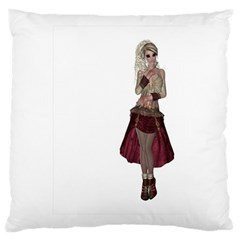 Steampunk Style Girl Wearing Red Dress Large Cushion Case (single Sided)