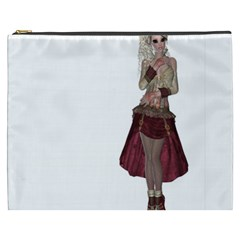 Steampunk Style Girl Wearing Red Dress Cosmetic Bag (xxxl)