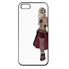 Steampunk Style Girl Wearing Red Dress Apple iPhone 5 Seamless Case (Black)