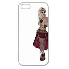 Steampunk Style Girl Wearing Red Dress Apple Seamless iPhone 5 Case (Clear)