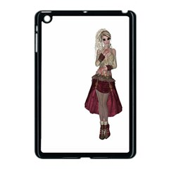 Steampunk Style Girl Wearing Red Dress Apple iPad Mini Case (Black)