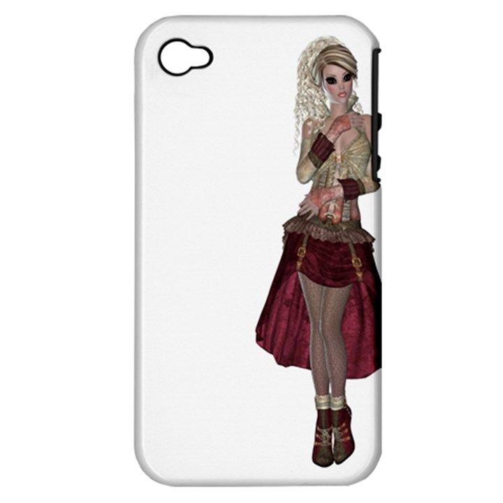 Steampunk Style Girl Wearing Red Dress Apple iPhone 4/4S Hardshell Case (PC+Silicone)