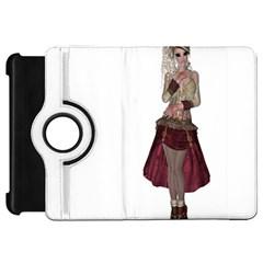 Steampunk Style Girl Wearing Red Dress Kindle Fire HD 7  (1st Gen) Flip 360 Case