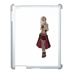 Steampunk Style Girl Wearing Red Dress Apple iPad 3/4 Case (White)