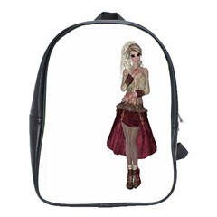 Steampunk Style Girl Wearing Red Dress School Bag (XL)