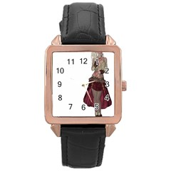 Steampunk Style Girl Wearing Red Dress Rose Gold Leather Watch