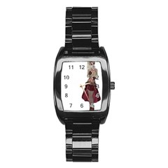 Steampunk Style Girl Wearing Red Dress Stainless Steel Barrel Watch